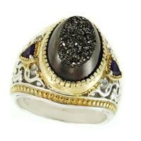 Michael Valitutti Palladium Silver Black Druzy, Amethyst & White Sapphire Ring