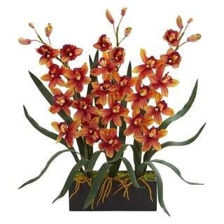 Cymbidium Orchid Artificial Arrangement in Black Vase