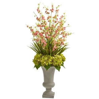 Nearly Natural Cherry Blossom and Hydrangeas Artificial Arrangement in Sand-colored Urn