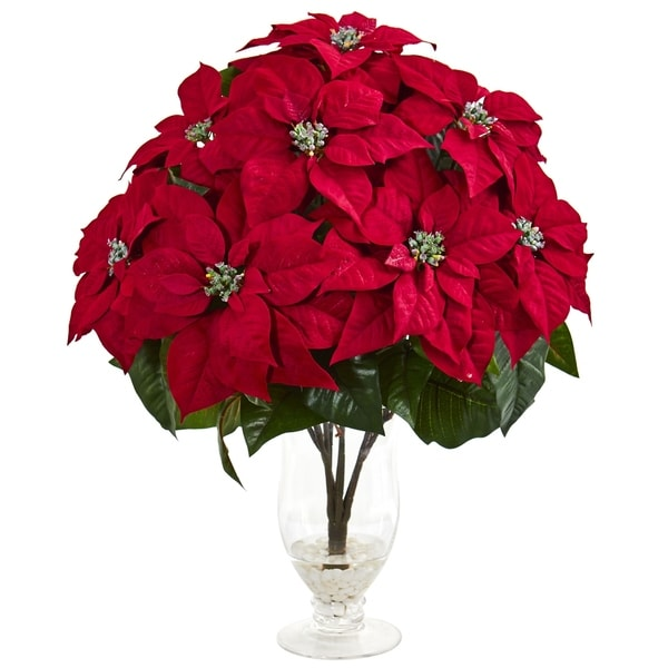 Nearly Natural Poinsettia Artificial Arrangement in Glass Vase