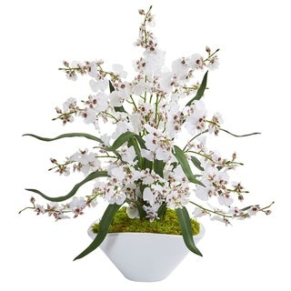Dancing Lady Orchid Artificial Arrangement in White Vase