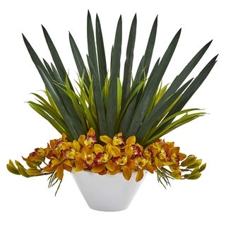 Nearly Natural Cymbidium Orchid Artificial Arrangement in White Bowl