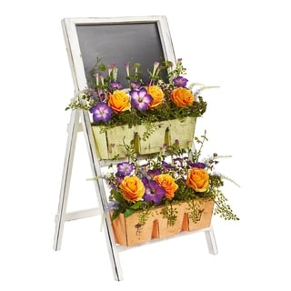 Nearly Natural Roses and Morning Glory 31-inch Artificial Arrangement in Farmhouse Stand with Chalkboard