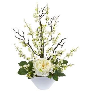 Rose & Cherry Blossom Artificial Arrangement