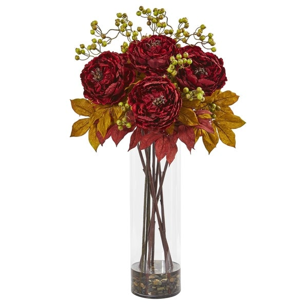 Nearly Natural Peony and Berries 36-inch Artificial Arrangement in Large Cylinder Vase