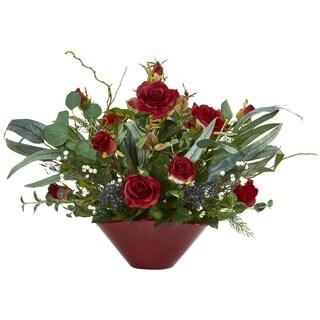 "16"" Rose and Eucalyptus Artificial Arrangement in Vase"