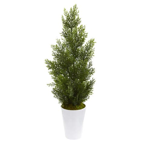 "27"" Mini Cedar Artificial Pine Tree in Decorative Planter (Indoor/Outdoor)"
