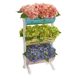Nearly Natural Hydrangea Garden 27-inch Artificial Arrangement in Farmhouse Stand