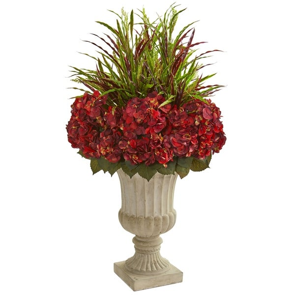 Nearly Natural 43-inch Hydrangea and Grass Artificial Plant in Stone Urn
