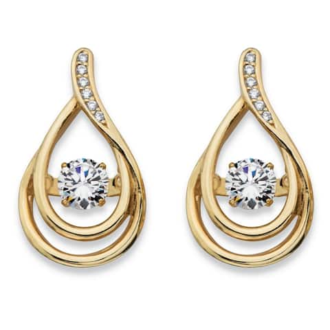 Yellow Gold over Sterling Silver Teardrop Earrings Cubic Zirconia
