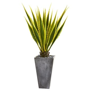 Nearly Natural 5-foot Agave Artificial Plant in Grey Planter