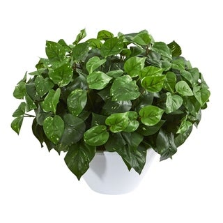 Nearly Natural Pothos Artificial Plant in White Vase