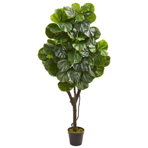 Nearly Natural Green/Black Fiddle Leaf Fig Artificial Tree with Planter