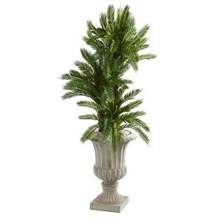 Nearly Natural 4.5-foot Triple Cycas Green Artificial Plant in Brown Urn
