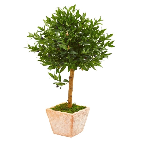 Nearly Natural Olive Topiary 3-foot Indoor/Outdoor Artificial Tree in Terra Cotta Planter