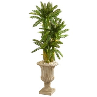 Nearly Natural 5-foot Triple Cycas Artificial Plant in Decorative Urn