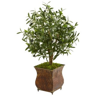 Nearly Natural Olive Artificial Tree in Metal Planter