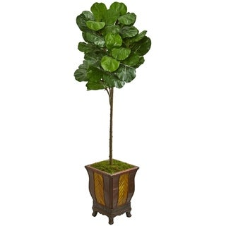 Nearly Natural Fiddle Leaf 6-foot Artificial Tree in Decorative Planter