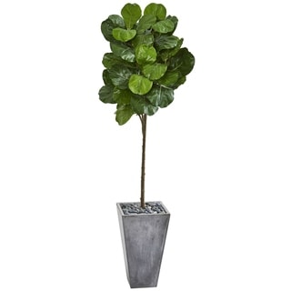 Nearly Natural 75-inch Artificial Fiddle Leaf Tree in Cement Planter