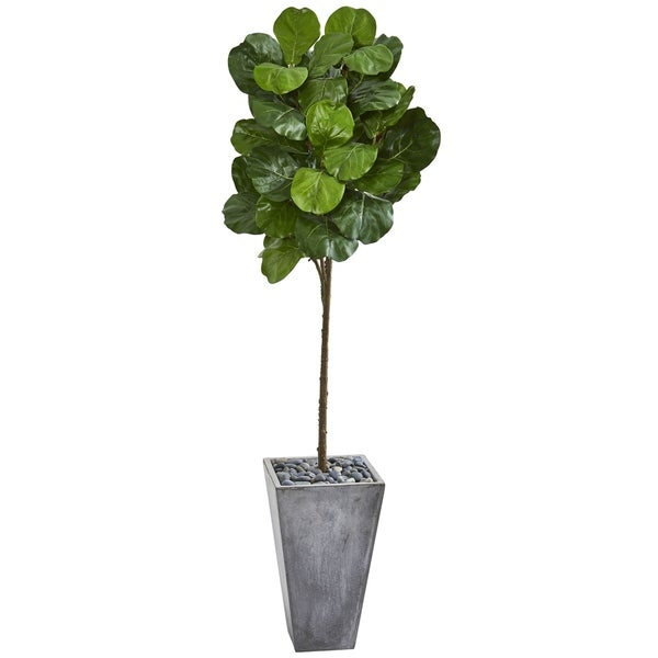 Nearly Natural 75-inch Artificial Fiddle Leaf Tree in Cement Planter. Opens flyout.