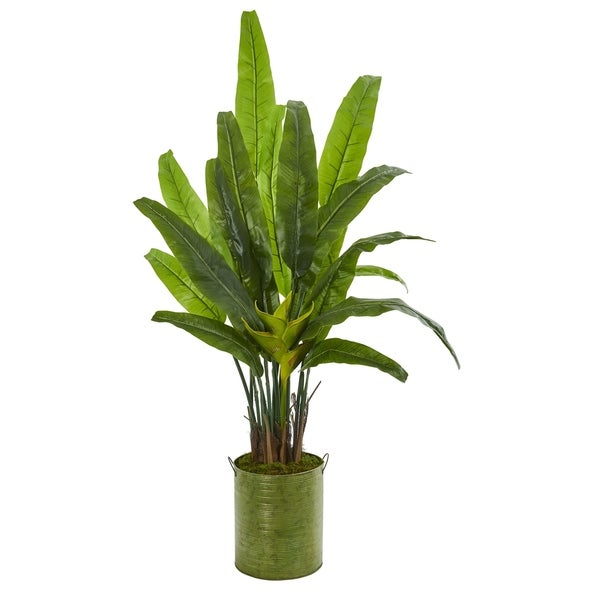 Nearly Natural 5-foot Travelers Palm Artificial Tree in Metal Planter