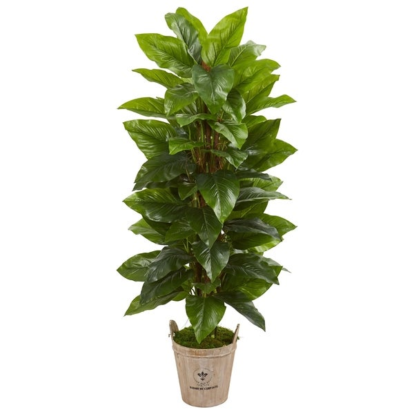 Nearly Natural 63-inch Large Leaf Philodendron Real Touch Artificial Plant in Farmhouse Planter