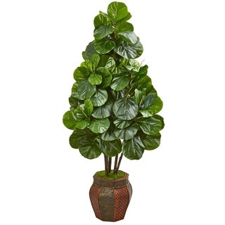 Nearly Natural Fiddle Leaf Fig 5-foot Artificial Tree in Decorative Planter