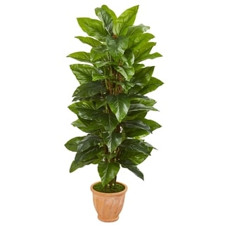 Nearly Natural 5-foot Large Leaf Philodendron Real Touch Artificial Plant in Terra Cotta Planter