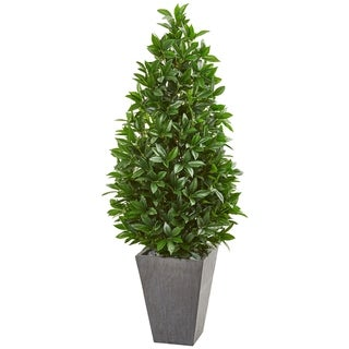 Link to Nearly Natural Bay Leaf Cone Topiary with Slate Planter UV-resistant Indoor/Outdoor Artificial Tree Similar Items in Decorative Accessories