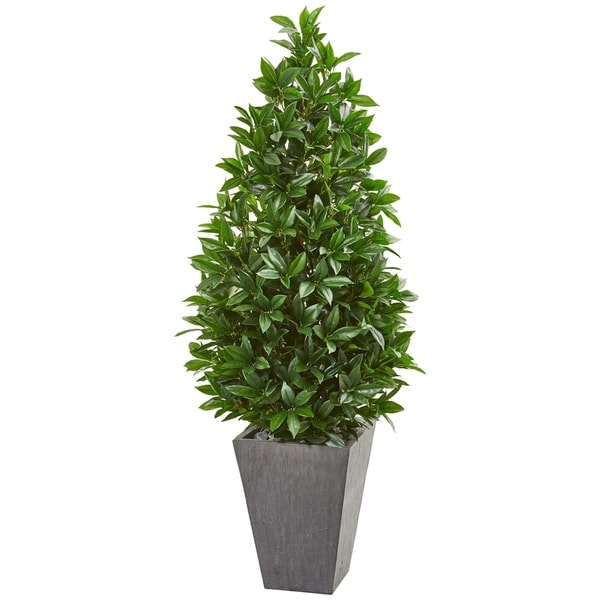 Nearly Natural Bay Leaf Cone Topiary with Slate Planter UV-resistant Indoor/Outdoor Artificial Tree