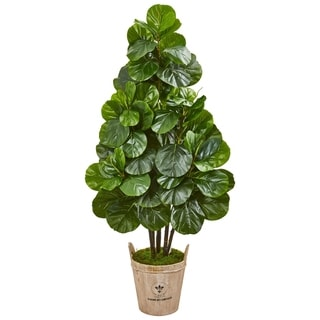 Nearly Natural Green/Brown Fiddle Leaf Fig Artificial Tree in Farmhouse Planter