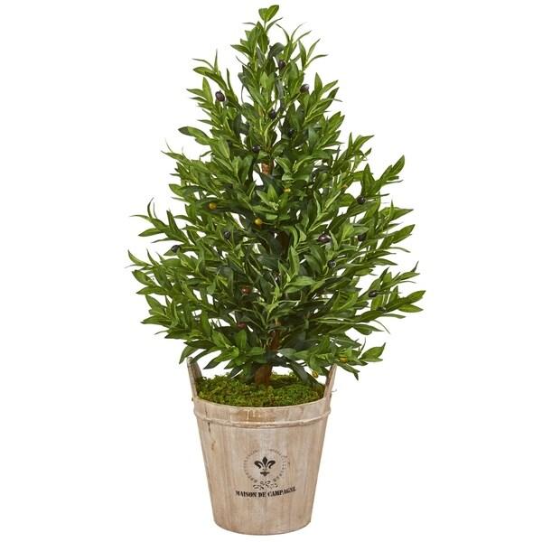 Olive Cone 38-inch Topiary Artificial Tree in Farmhouse Planter