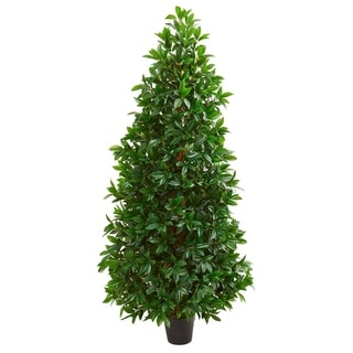 Link to Nearly Natural Green Bay Leaf Cone Topiary Artificial Tree with Planter Similar Items in Decorative Accessories