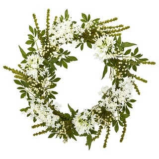 """24"""" White Mixed Floral Artificial Wreath"""