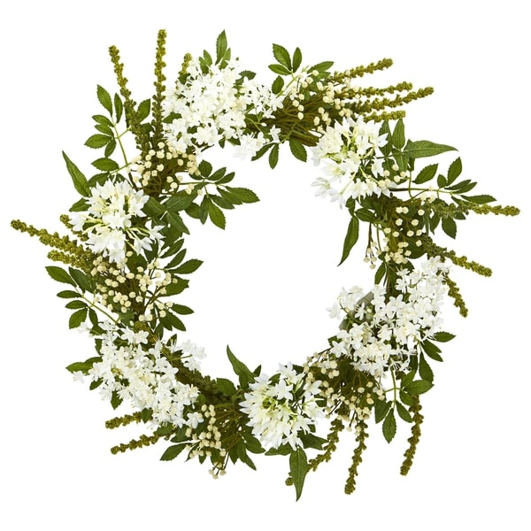"""24"""" White Mixed Floral Artificial Wreath. Opens flyout."""