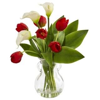 Calla Lily & Tulips Artificial Arrangement in Decorative Vase