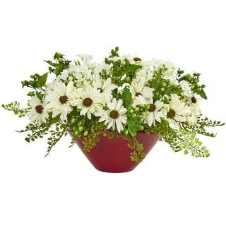 Daisy Artificial Arrangement in White Vase