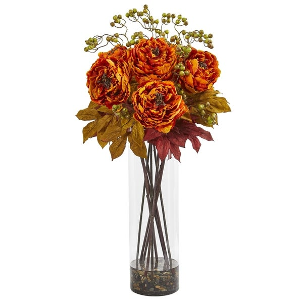 Nearly Natural 36-inch Peony and Berries Artificial Arrangement in Large Cylinder Vase