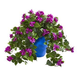 Bougainvillea Artificial Plant in Blue Planter