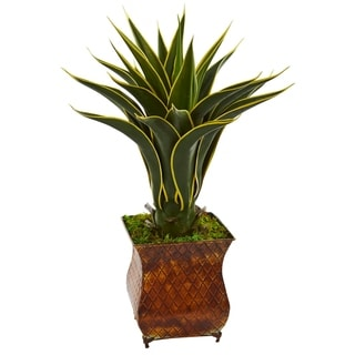 Nearly Natural Agave Green/Yellow Artificial Plant in Brown Metal Planter