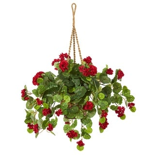 "27"" Geranium Artificial Plant in Hanging Basket"