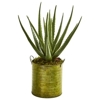 Aloe Artificial Plant in Green Metal Planter