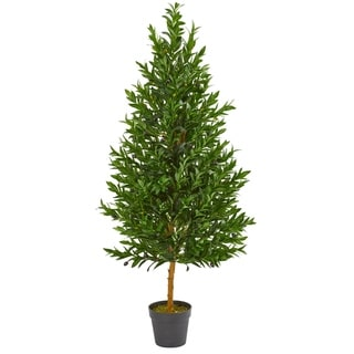 Nearly Natural Olive Cone 4.5-foot Topiary UV Resistant Artificial Tree