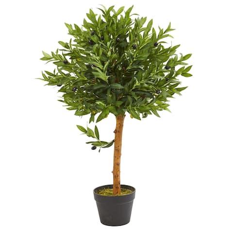 "34"" Olive Topiary Artificial Tree UV Resistant (Indoor/Outdoor)"