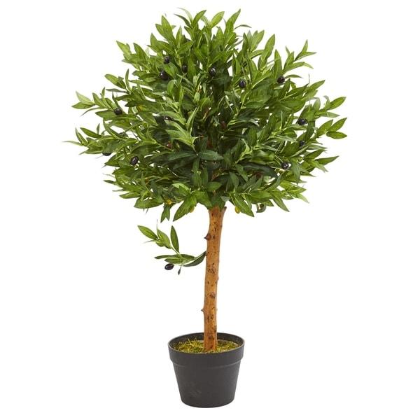 "34"" Olive Topiary Artificial Tree UV Resistant (Indoor/Outdoor). Opens flyout."