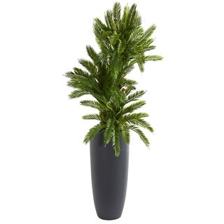 Nearly Natural 4.5-foot Triple Cycas Artificial Plant in Grey Planter
