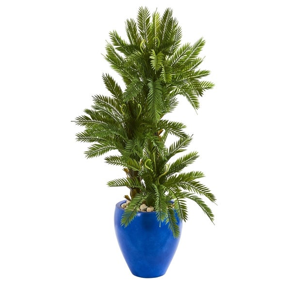 Nearly Natural 4-foot Triple Cycas Artificial Plant in Blue Planter