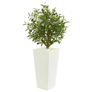 Nearly Natural 3.5-foot Olive Artificial Tree in White Planter