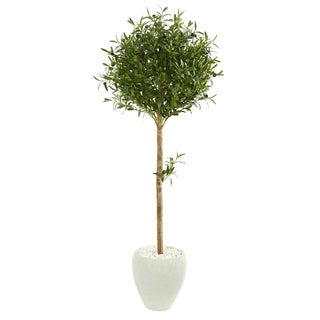 Nearly Natural Olive Topiary 5-foot Artificial Tree in White Planter