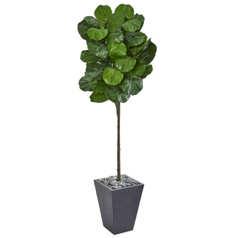 Nearly Natural Fiddle Leaf 6-foot Artificial Tree in Slate Finished Planter